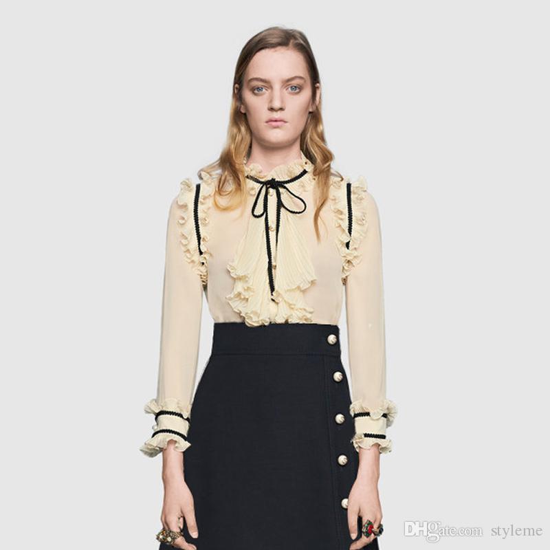 브랜드 디자이너 여성 호화로운 블라우스 2018 가을 패션 스타일 스탠드 칼라 펄 버튼 긴 소매 Transpartent 셔츠 탑스