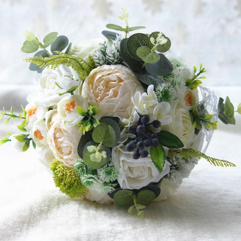 Großhandel 2018 Brautsträuße hohe Qualität Elfenbein Rose Hochzeit Blumen Brautjungfern Bouquet