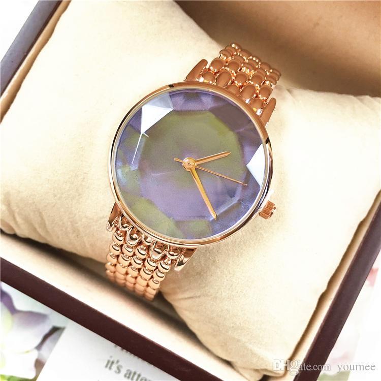 Diseño especial Nuevo reloj de mujer de lujo de acero inoxidable Colorido reloj de vestir de señora Mejor regalo movimiento de Japón Elegante reloj de mesa de mujer