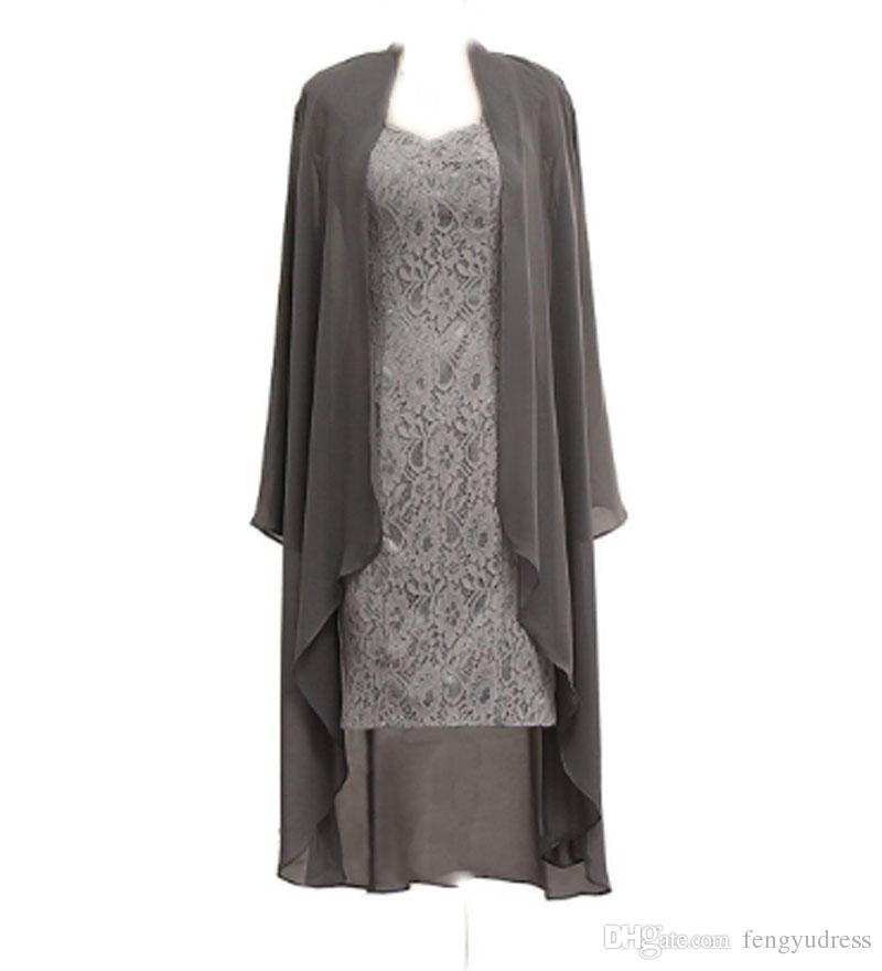 Long Sleeves Mother Of The Bride Dresses Two-piece Lace Dress with Jacket Custom Made Women's formal Dress
