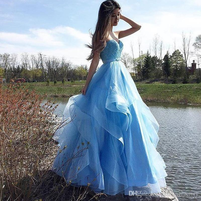Stunning 2019 Prom Dresses A-line Sweetheart Beaded Lace Appliques Ruffled Light Sky Blue Tulle Floor Length Evening Party Gowns Custom