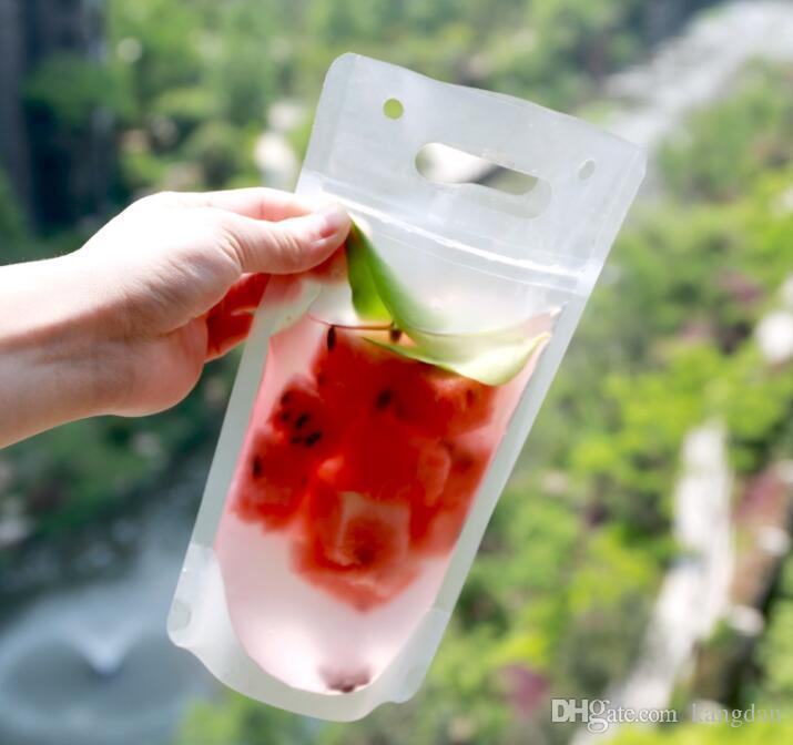 Portátil fosco líquido Doypack criativo suco de frutas leite refrigerante sacos de embalagem de plástico branco de pé zíper bolsa saco selo beber vinho