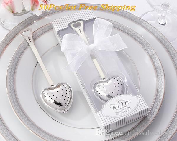 50 Adet / grup Çay Zaman Aşk Kalp Aşk Çay Demlik Zarif Beyaz Hediye Kutusu Düğün ve Parti için Konuk Iyilik Ücretsiz nakliye