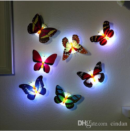 아이 룸 냉장고 침실 장식을 살고 다채로운 빛 나비 벽 스티커 쉬운 설치 밤 빛 LED 램프 홈
