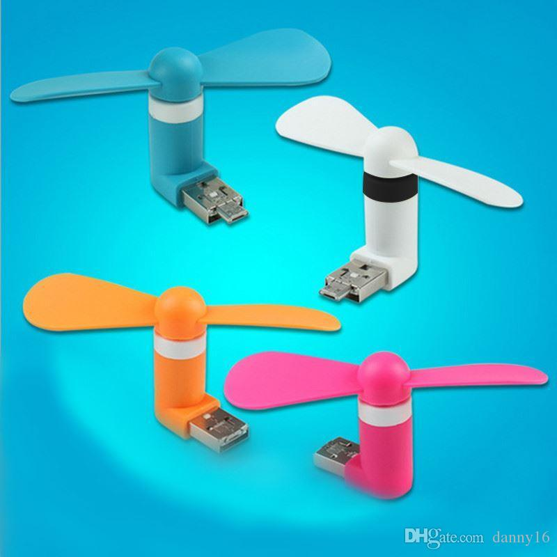 Wholesale! 2-in1 Mini Micro USB mobile phone fan portable flexible Mini USB fans for PC tablets power bank android smartphones
