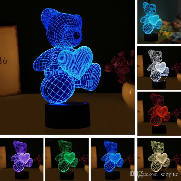 New Cartoon Love Heart Bear Shape Table lamp USB LED 7 Colors Changing Battery Desk Lamp 3D Lamp Novelty Night Light Kid Christmas Gift Toys