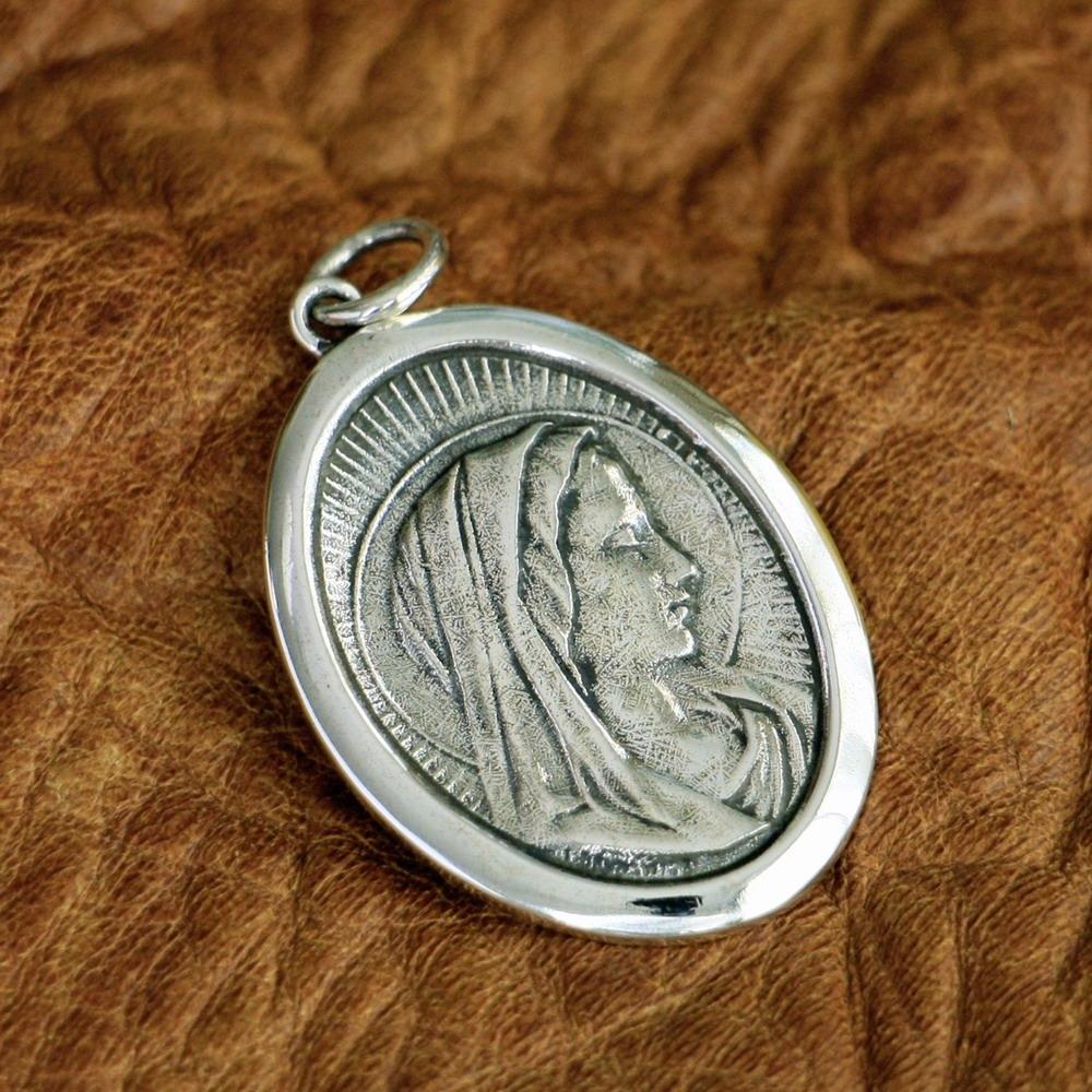 LINSION стерлингового серебра 925 Девы Марии Мадонны подвески кулон TA96 JP