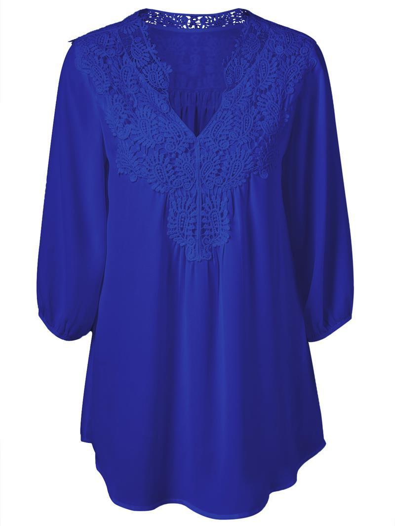 Мода женщины блузка рубашка V-образным вырезом кружева цветочные крючком лоскутное полые топы женская блузка рубашка плюс размер LMH02E