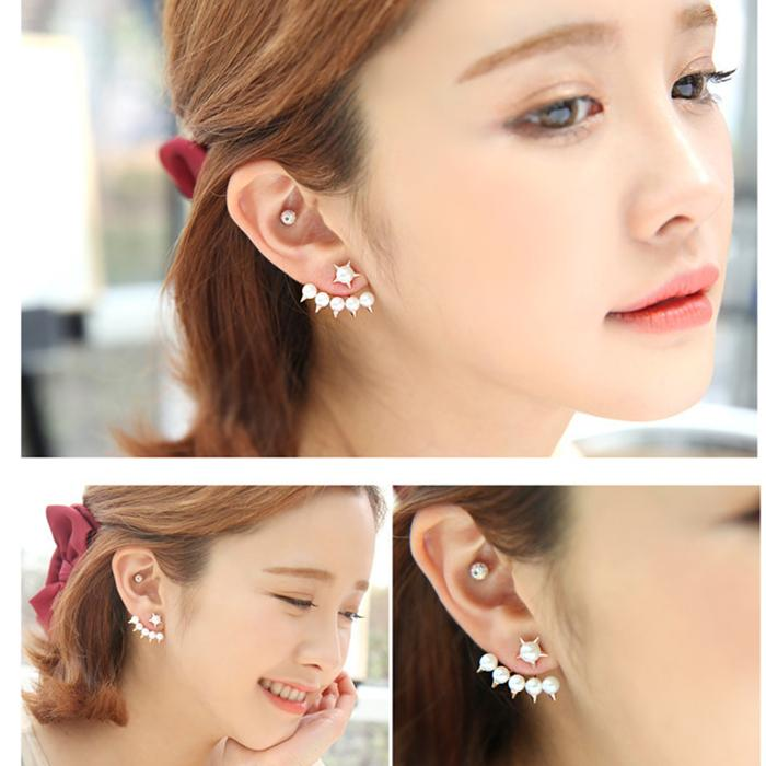 Er230 Moda coreana piccola fresca stella a cinque punte Cinque perle imitazione orecchini per le donne