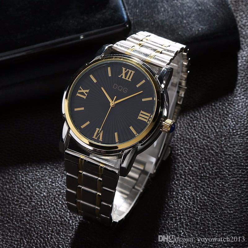 Orologi da uomo d'affari in acciaio inossidabile di marca top di lusso BLACKWHITE Orologi sportivi di moda quadrante argento al quarzo + orologi da polso in oro