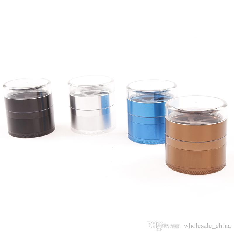Aluminium Alloy Herb Grinder With Transparent Lip 63mm Diameter 5 Layer 4 Color Free Shipping DHL
