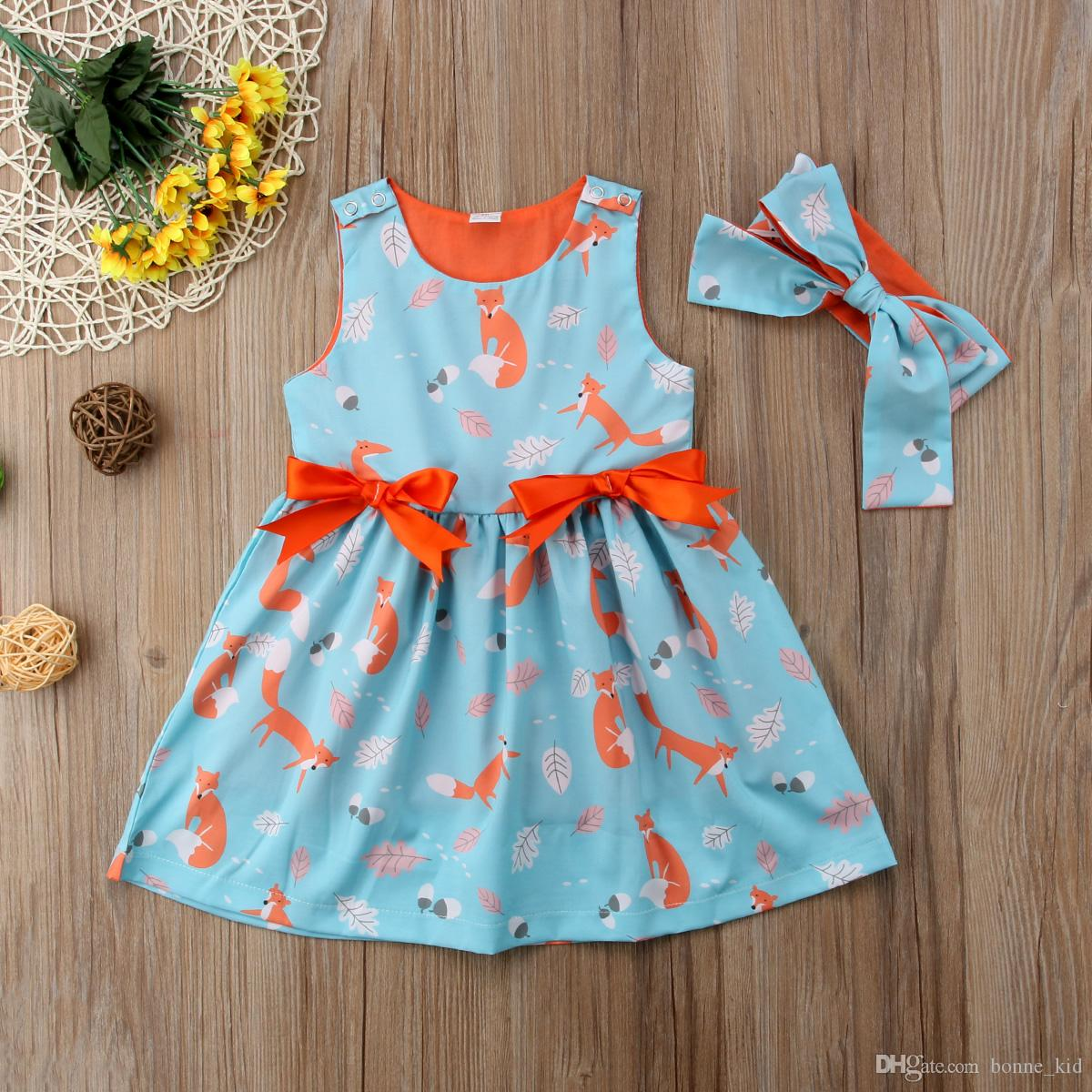 2018 animal fox kids girls orange blueprincess dresses sleeveless bowknot tutu dresses baby girl clothes 12M-6Y high quality summer products