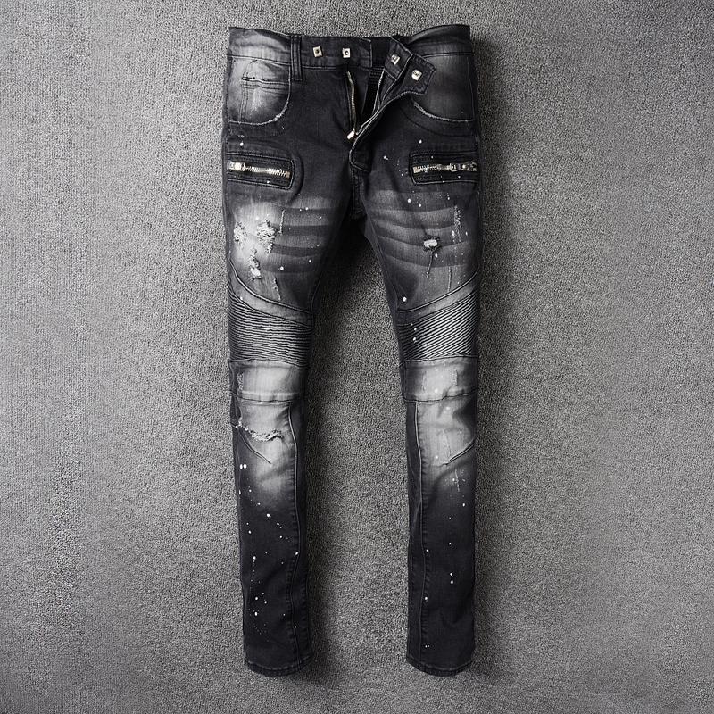 2017 Новый стиль Франции # 1045 # Мужские проблемные Украшенные ребристые стрейч мото брюки байкер джинсы узкие брюки размер 28-42