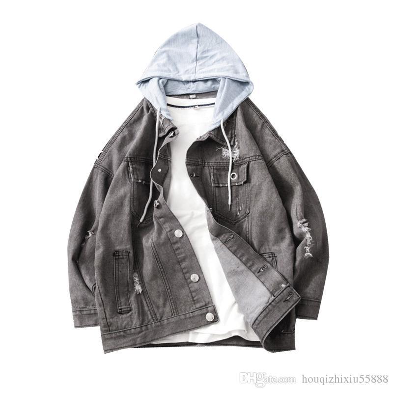 Nouveau Denim Jasje Mannen Mode Retro Verzwakte Décontracté Coupe Slim à capuche Jas Streetwear Mannelijke Kleding Uitloper Bomber Jacket Homme