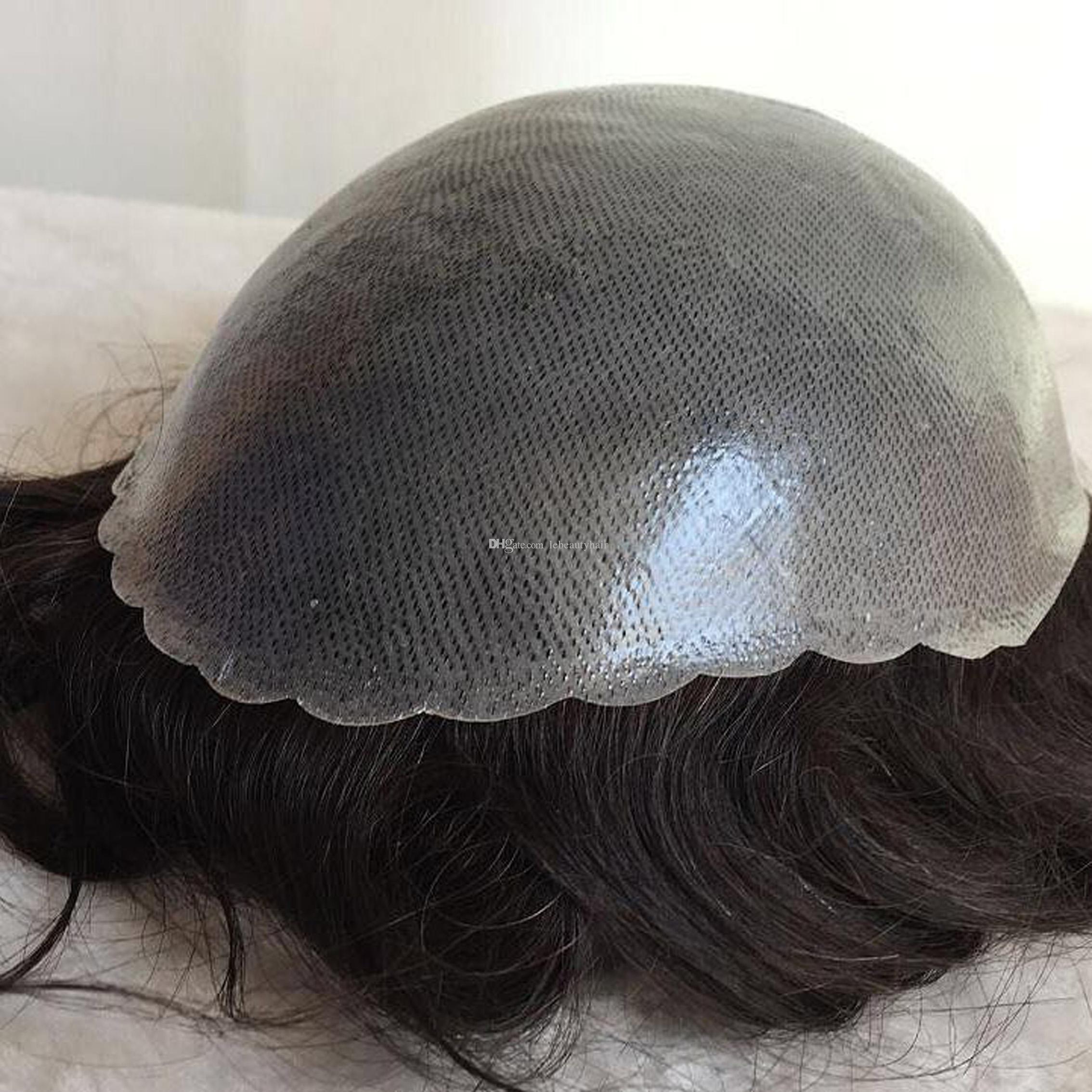 8x10 '' Pelo negro natural, piel fina, PU, 12-14 peluca, hombres, peluca, cabello humano