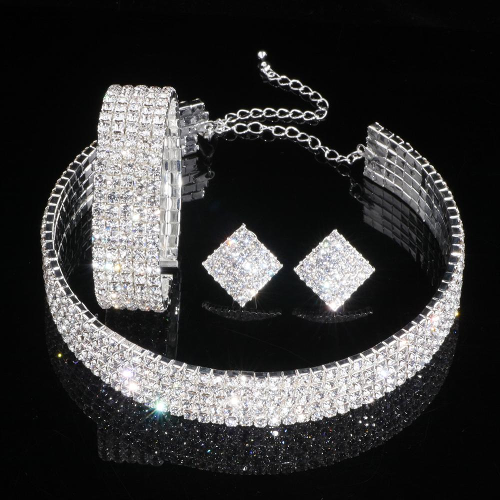 Classique Cristal De Mariage Ensembles de Bijoux pour Femmes Argent Couleur Collier Boucles D'oreilles Bracelet Ensembles Pour Nuptiale Bijoux De Fiançailles WX082