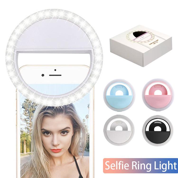 Box RK12 Şarjlı LED Selfie'nin Işık İçin Iphone11 Evrensel Selfie'nin Lambası Cep Telefonu Mercek Taşınabilir Flaş Yüzük İçin Samsung S20 Huawei P40