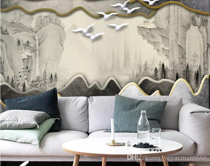 Фото обои пользовательские росписи шелк 3D комната обои 3D абстрактные чернила живопись китайский стиль фото Обои для стен 3D