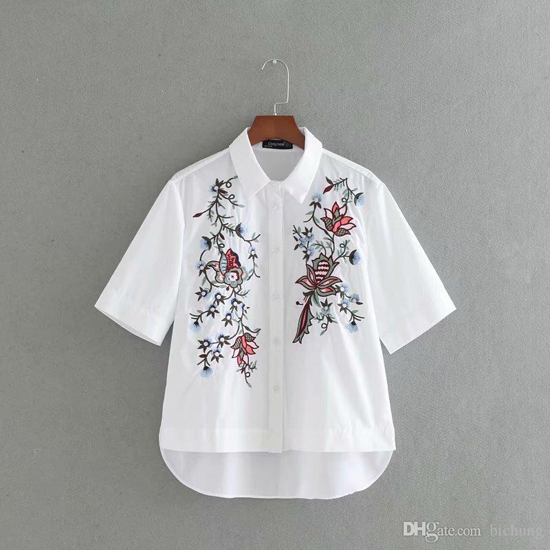빈티지 화이트 프린트 컬러 꽃 자수 셔츠 2017 옷깃 반소매 블라우스 탑스 blusas chemise femme blusa