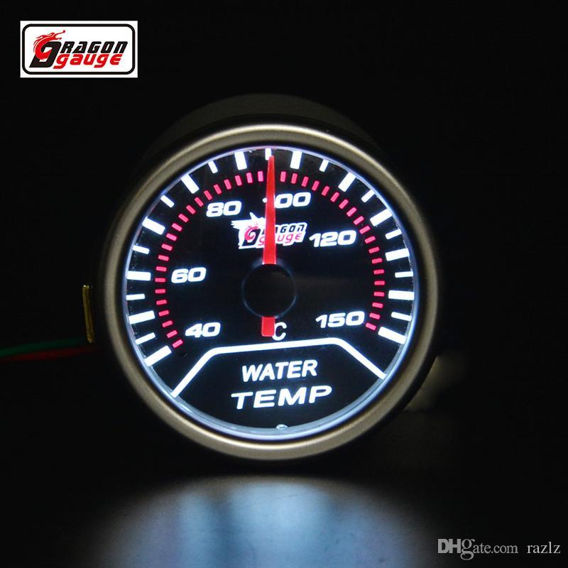 Drago calibro 52mm puntatore auto moto Racing Refit Indicatore temperatura acqua Retroilluminazione bianca 40-150 gradi centigradi
