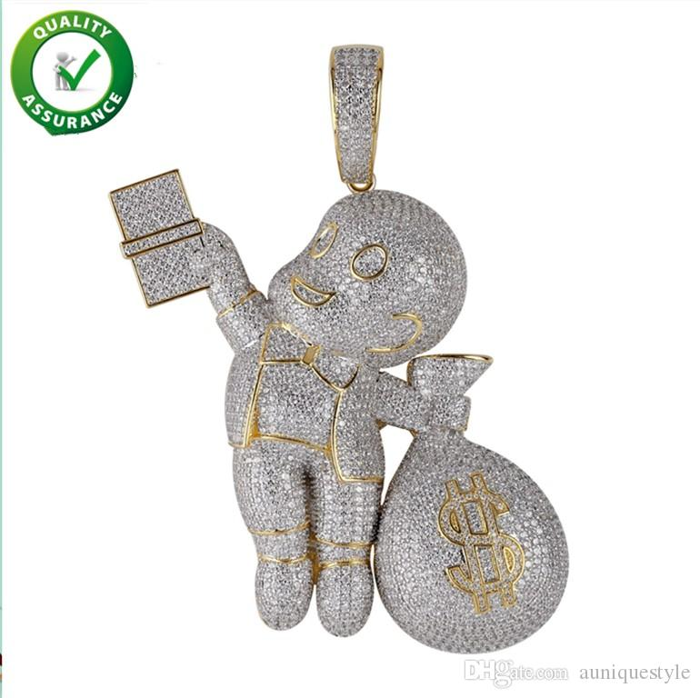 Mens Iced Out Pendant Hip Hop Designer Jewelry Luxury Diamond Necklace Gold Miami Cuban Link Chain Micro Paved Bling CZ Hiphop Punk Rapper