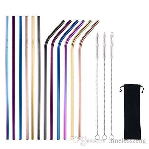 6*215MM 304 Stainless Steel Straw Reusable Drinking Straws Colorful Metal Straw Cleaning Brush Home Party Wedding Bar Drinking Tools Barware