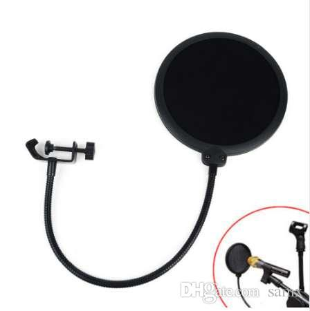 1 adet Siyah Çift Katmanlı Stüdyo Mikrofon Mikrofon Konuşan Kayıt Için Rüzgar Ekran Pop Filtre