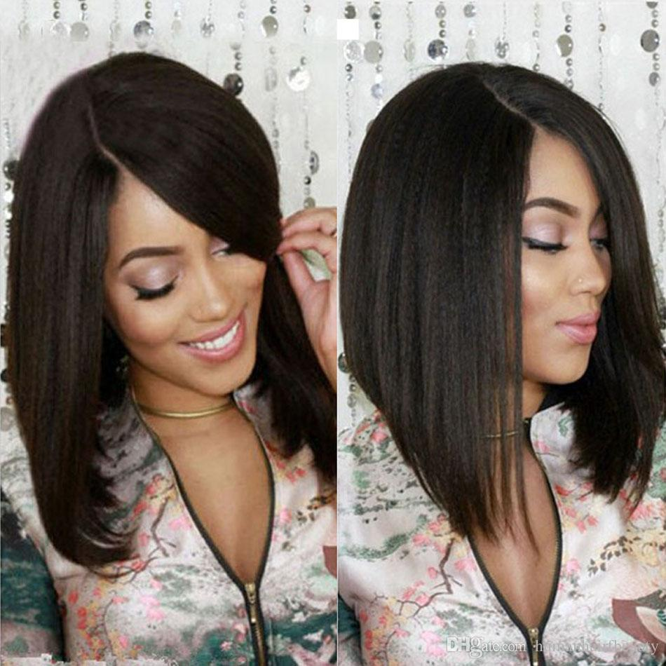 Hotsale 7A Italian Yaki Bob Wig Peruvian Virgin Hair Short Bob Lace Front Wigs Light Yaki Glueless Lace Front Human Hair Wigs