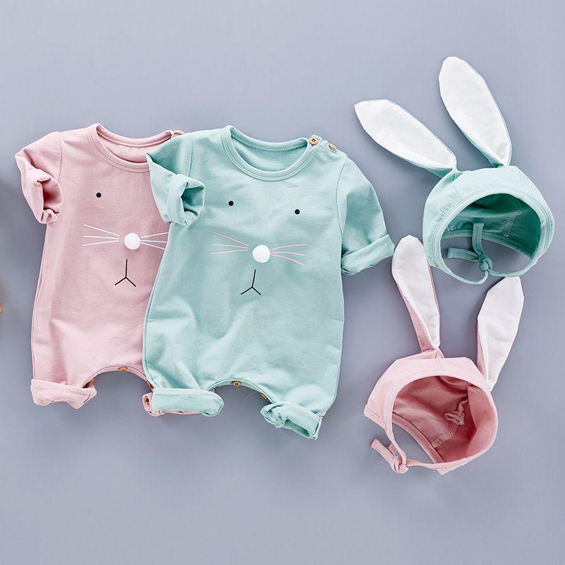 Детская одежда Детская одежда 2018 Autumu новорожденный ребенок комбинезоны Комбинезоны+кролики уши шляпа 2 шт. наборы хлопок младенческой малыша подняться костюмы Костюмы