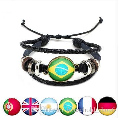 cheapest 2018 Russia World Cup Wristband Charm Bracelet customized Mexico Belgium Croatia National Flag Leather Bracelet Bangle Favor Gifts