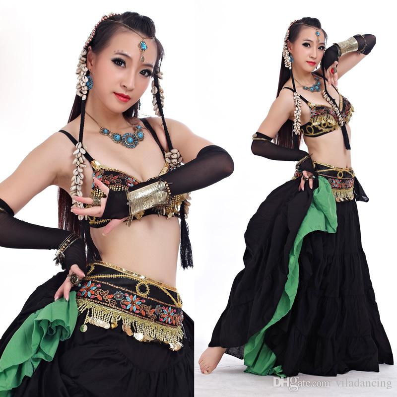 ATS 2018 Tribal Style Belly Dance Clothes for Women 4 Pieces Outfit Set Antique Beads Bra Belt Skirts Gypsy Dance Costumes