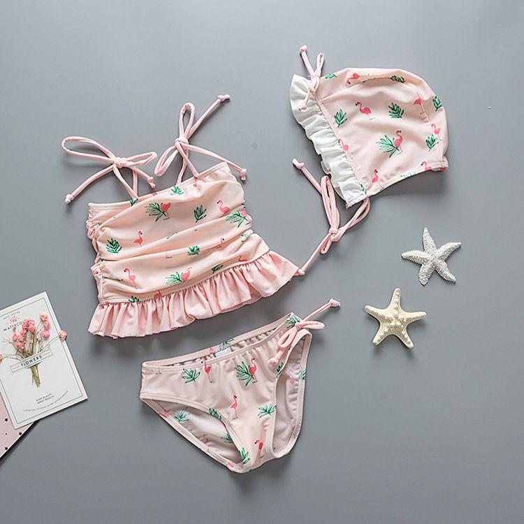 04b12c92d6ac3 Cartoon Kids Girls bathing suits Summer 2018 New Flamingo Ruffle bikini  swimsuit Cute Children spa beach swim suit C3579