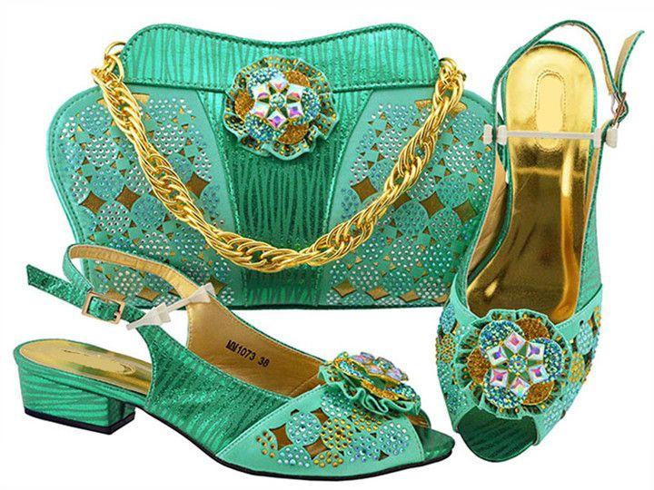 Nova moda água mulheres verdes gatinho calcanhar sapatos com projeto da flor de cristal sapatos africanos jogo bolsa combinada para o vestido MM1073, calcanhar 3.5 CM