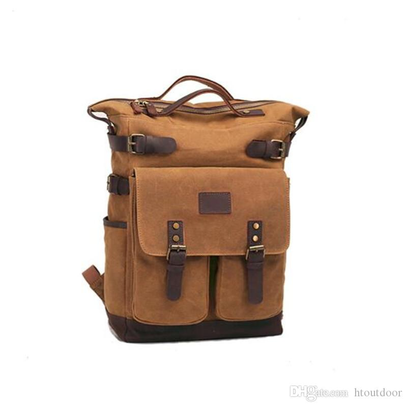 3 Color Vintage Leather Canvas Backpack Outdoor Travel Hiking Camping Weekender Rucksack Casual Daypack College School Business Laptop Bag
