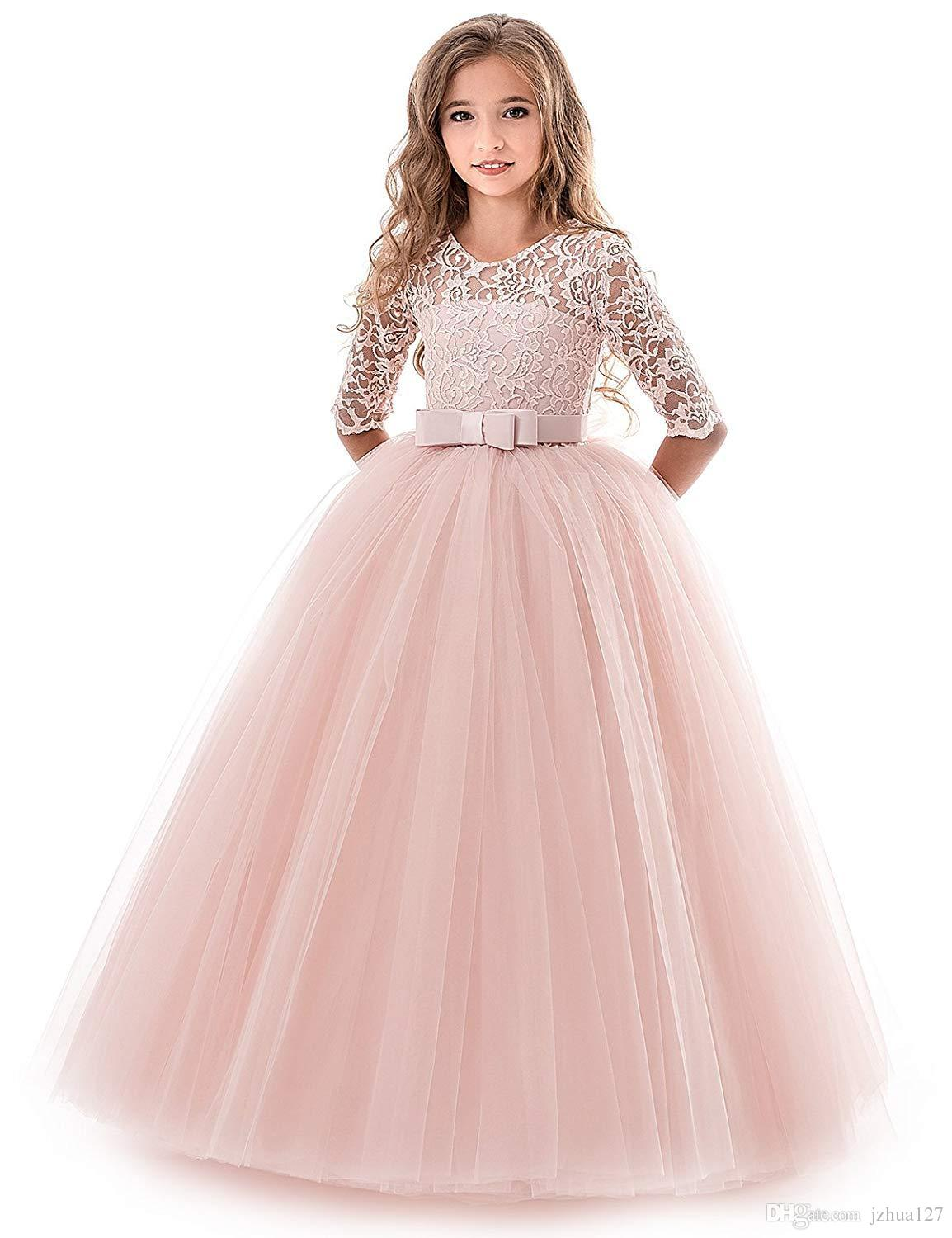 fa76eef81 Flower Girl Dress Lace Tulle Floor Length Bridesmaid Dance Ball Gown Dress  for 2-14 Years