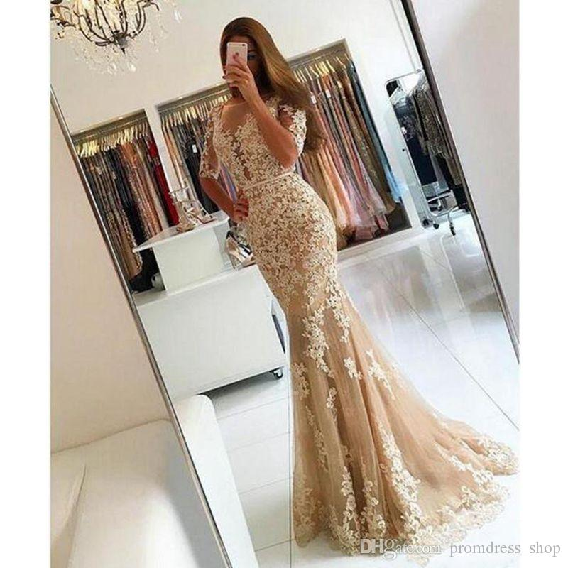 Free Shipping Champagne Evening Gowns Mermaid Sheer Neck 1/2 Sleeve Sweep Train Prom Dresses With Lace Applique Backless Party Gowns