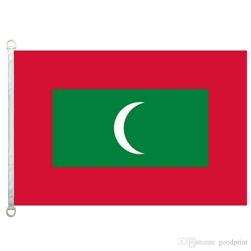 Bandera de Maldivas Bandera 3X5FT-90x150cm 100% Poliéster, 110gsm Bandera de tela tejida por urdimbre al aire libre