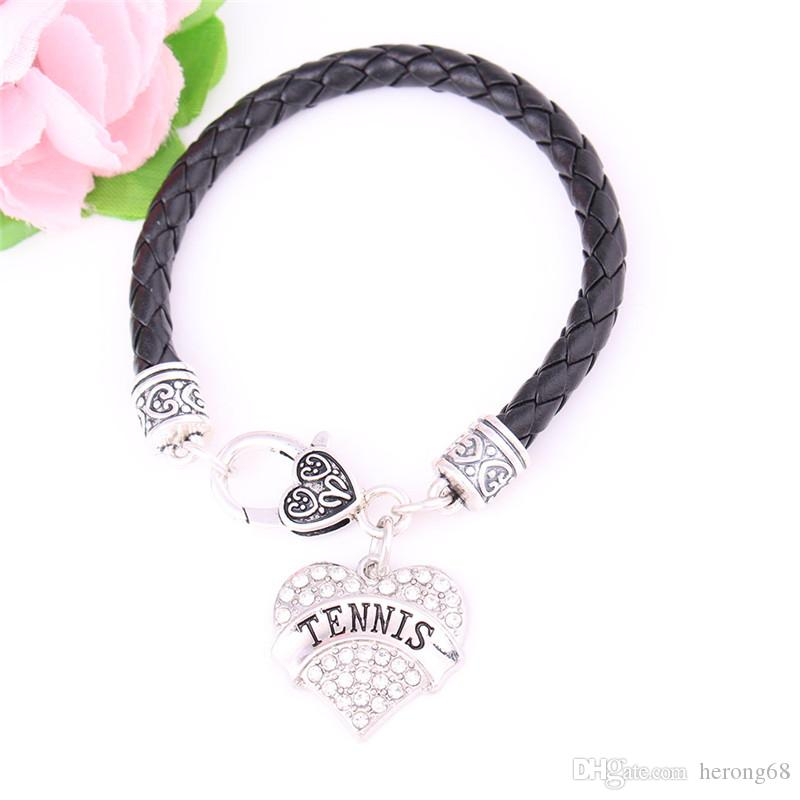 New Design 2018 Heart Bracelet TENNIS Written Sporty Word Written With White Crystals Present Choose Zinc Alloy Provide Dropshipping