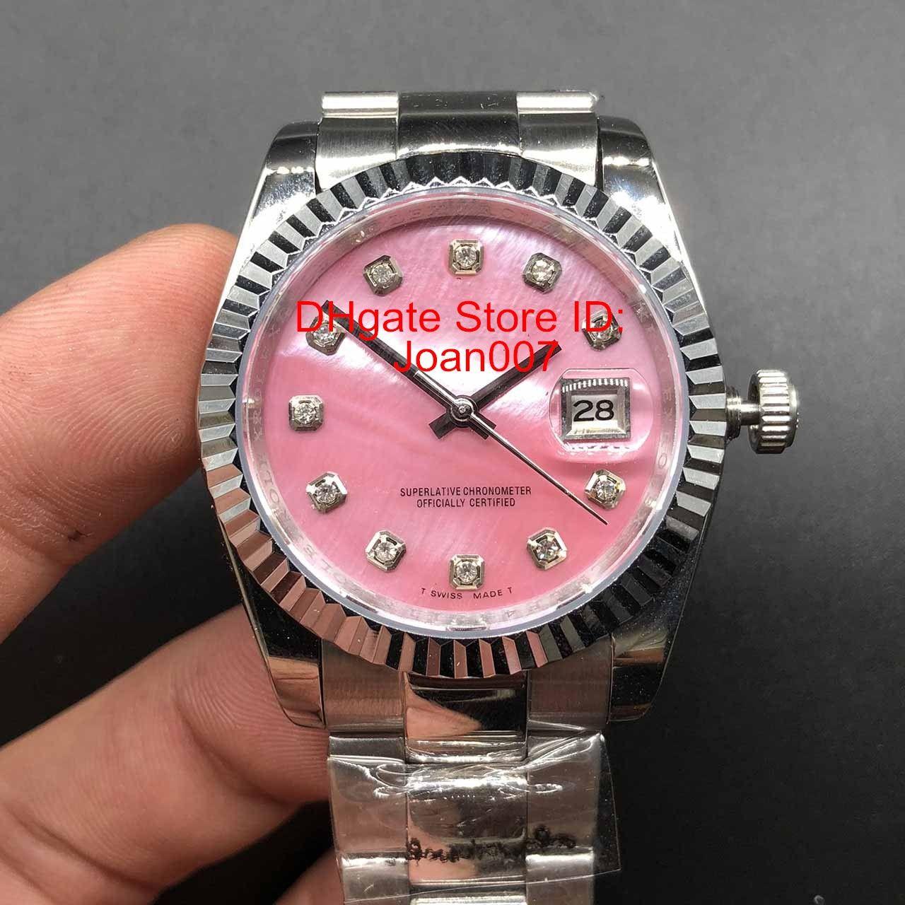 Top reloj Dial Rosa Presidente Reloj de pulsera de acero inoxidable de 36 mm más bajo Precio señoras para mujer del reloj mecánico automático