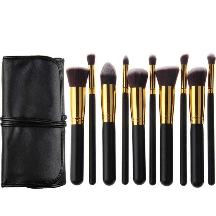 zouyesan Free Shipping 2019 10 Black Gold Black and Silver Makeup Brushes Portable Case with Bag Beauty Set
