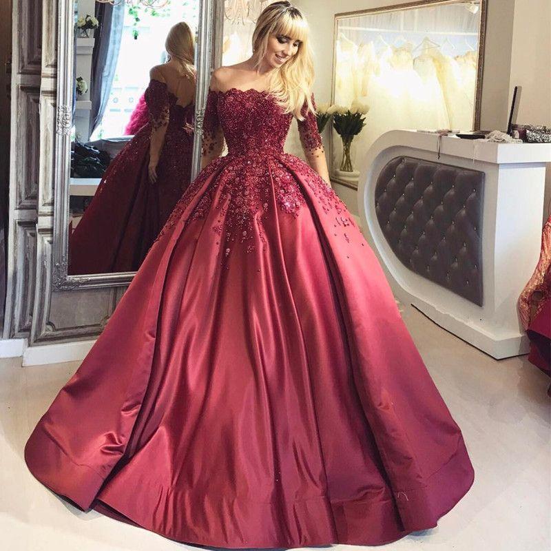 Elegante, rojo, de lujo, de noche, con cuentas, vestidos de baile, fuera del hombro, apliques, mangas largas, tren de barrido, vestidos de noche largos, vestidos de fiesta formal, satin