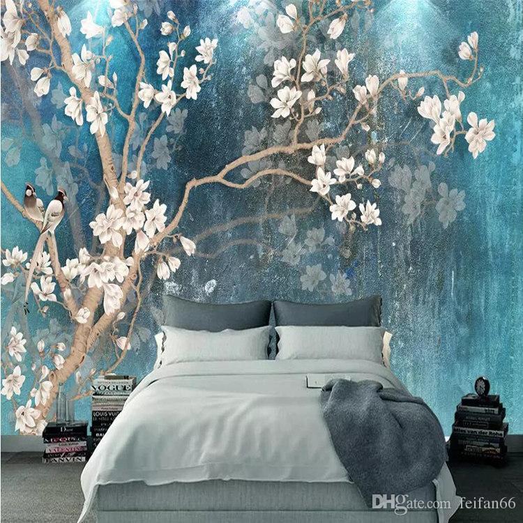 Custom 3D Wall Murals Wallpaper Nórdico Azul Vintage Pintado A Mano Flores Pájaros Pintura Al Óleo Papel de Pared Dormitorio Mural De Parede