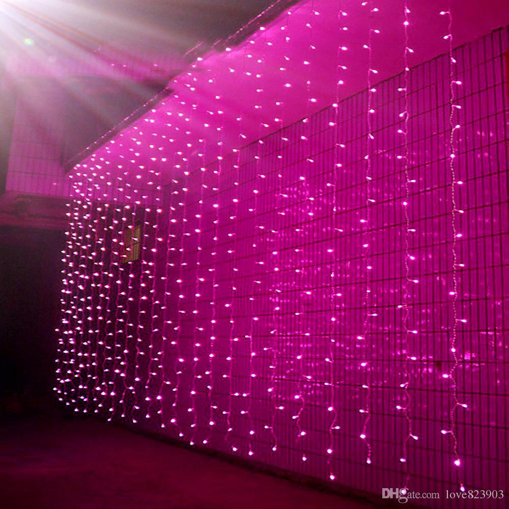 3Mx4M 4Mx4M 6Mx4M 8Mx4M 110V 220V 8 modos Cortina al aire libre Carámbano Luz de la secuencia Nuevo año Jardín de Navidad Boda Deco Cadena de luces de Hadas