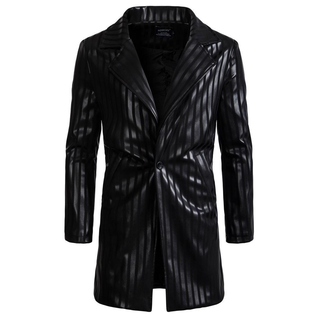 Winter PU Leather Jacket Men Long Leather Blazer Neck Jackets Coat Trench Overcoat Mens Striped Leather Jackets Coats S-2XL J180734