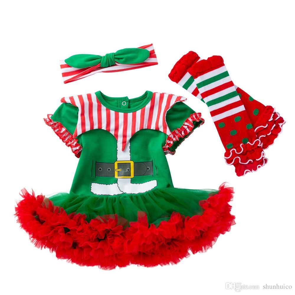 크리스마스 아기 Romper 다리 따뜻하게 머리띠 Ruffle 투투 드레스 Xmas Bodysuit Jumpsuit