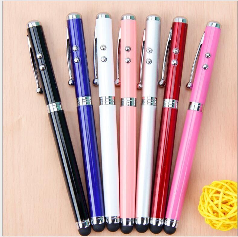 4 في 1 مؤشر ليزر LED الشعلة شاشة تعمل باللمس ستايلس الكرة القلم للهواتف الذكية العالمية متعددة الوظائف أقلام الكتابة