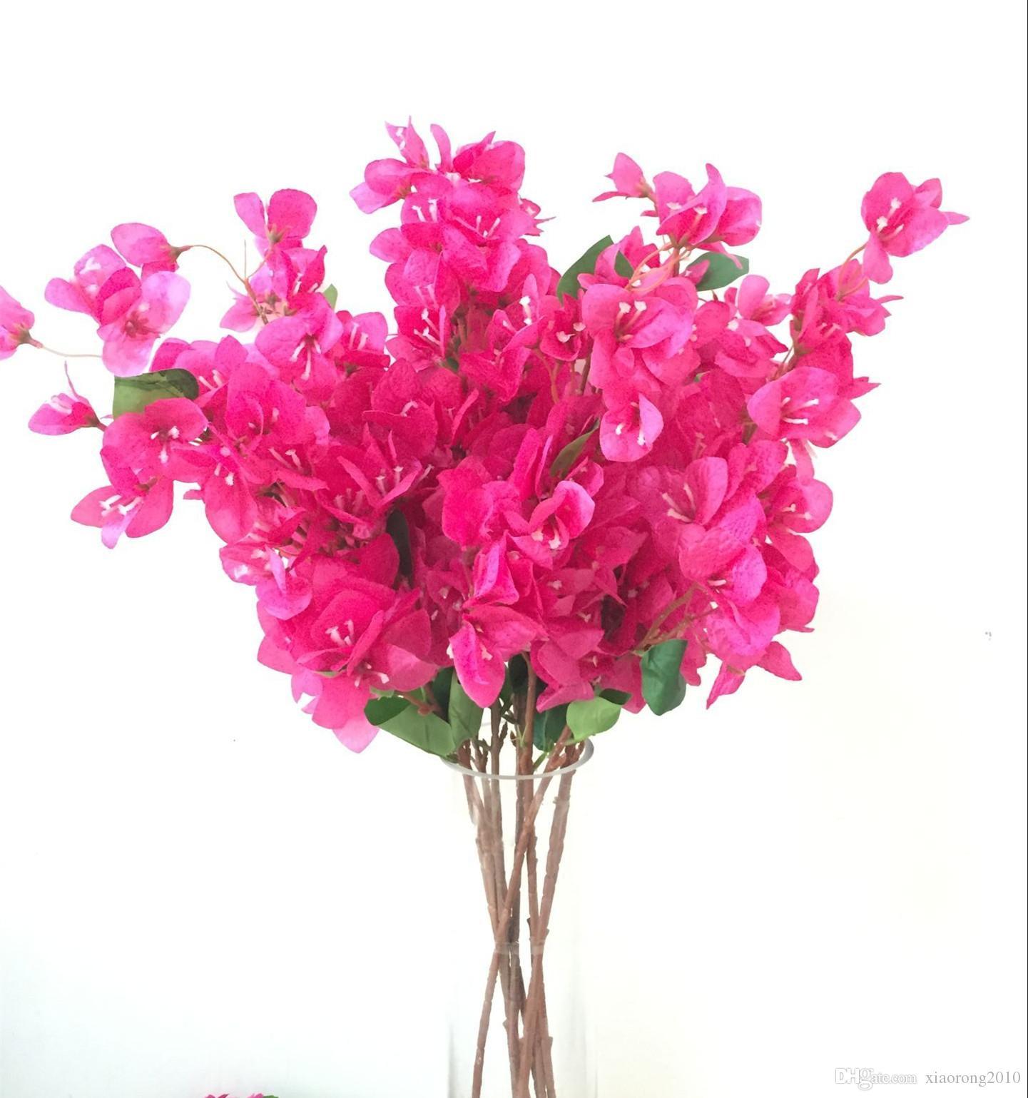 один шелковый Бугенвиль голого Искусственная Напольного поддельного Бугенвиль spectabilis горячих розовое для свадебного Centerpieces Декоративных цветов