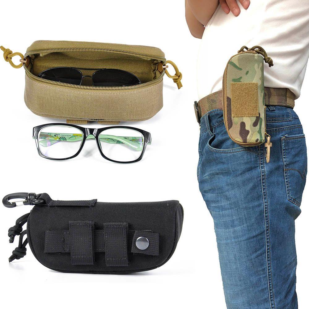 Tactical Molle Zipper Case Óculos 1000D Nylon anti-choque duro garra Eyewear Carry óculos de sol bolsa saco com POM Clipe