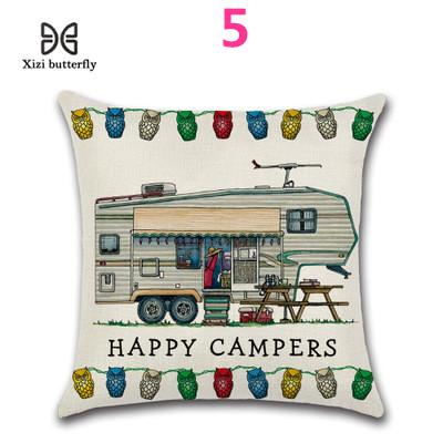 Happy Campers Linen Sofa Waist Throw Cushion Cover Pillow Case Home Decor UK