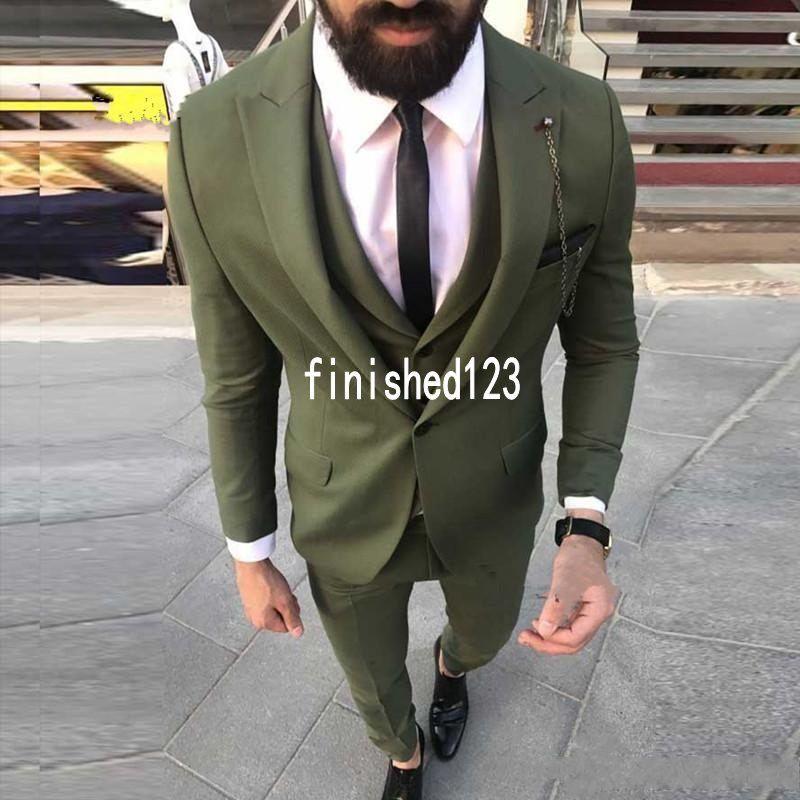 Yeni Tasarım Tek Düğme Zeytin Yeşil Düğün Damat Smokin Tepe Yaka Groomsmen Erkek Akşam Yemeği Blazer Suits (Ceket + Pantolon + Yelek + Kravat) NO: 1590